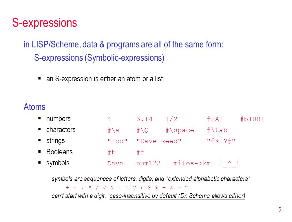 S-expressions in LISP/Scheme, data & programs are all of the same form: S-expressions (Symbolic-expressions)