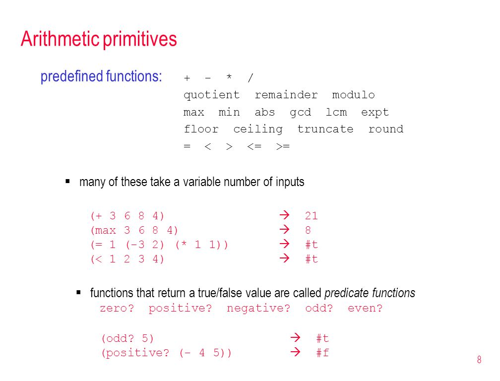 Arithmetic primitives