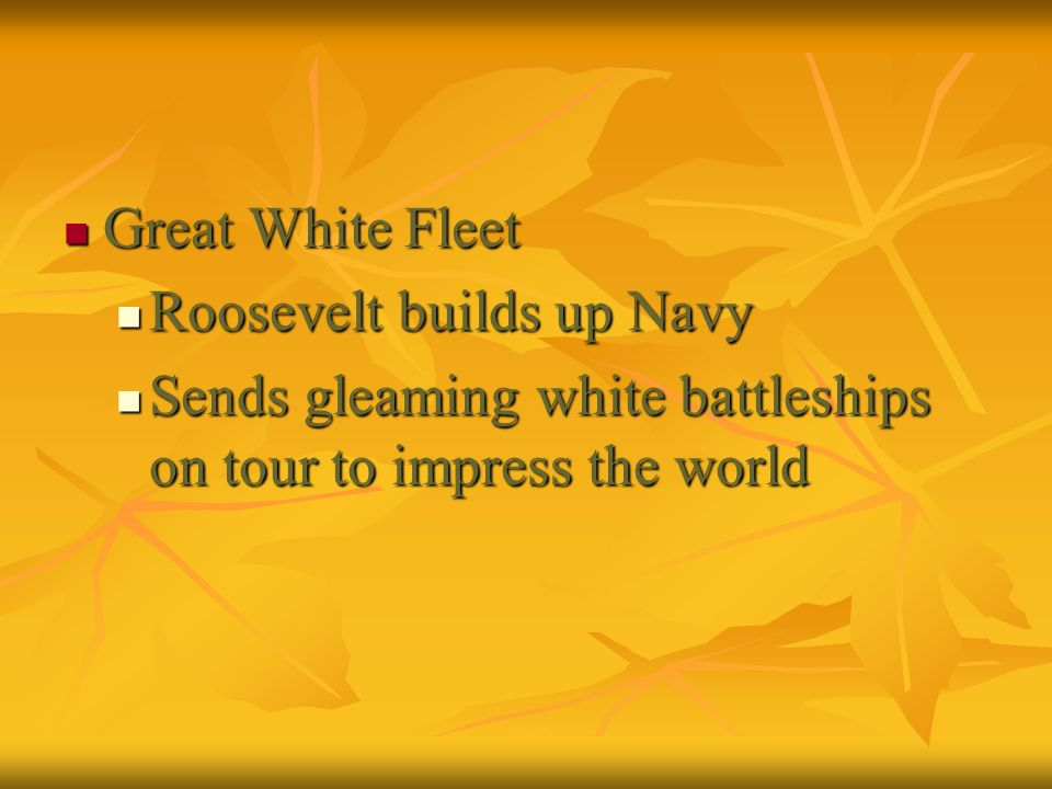 Great White Fleet Roosevelt builds up Navy.
