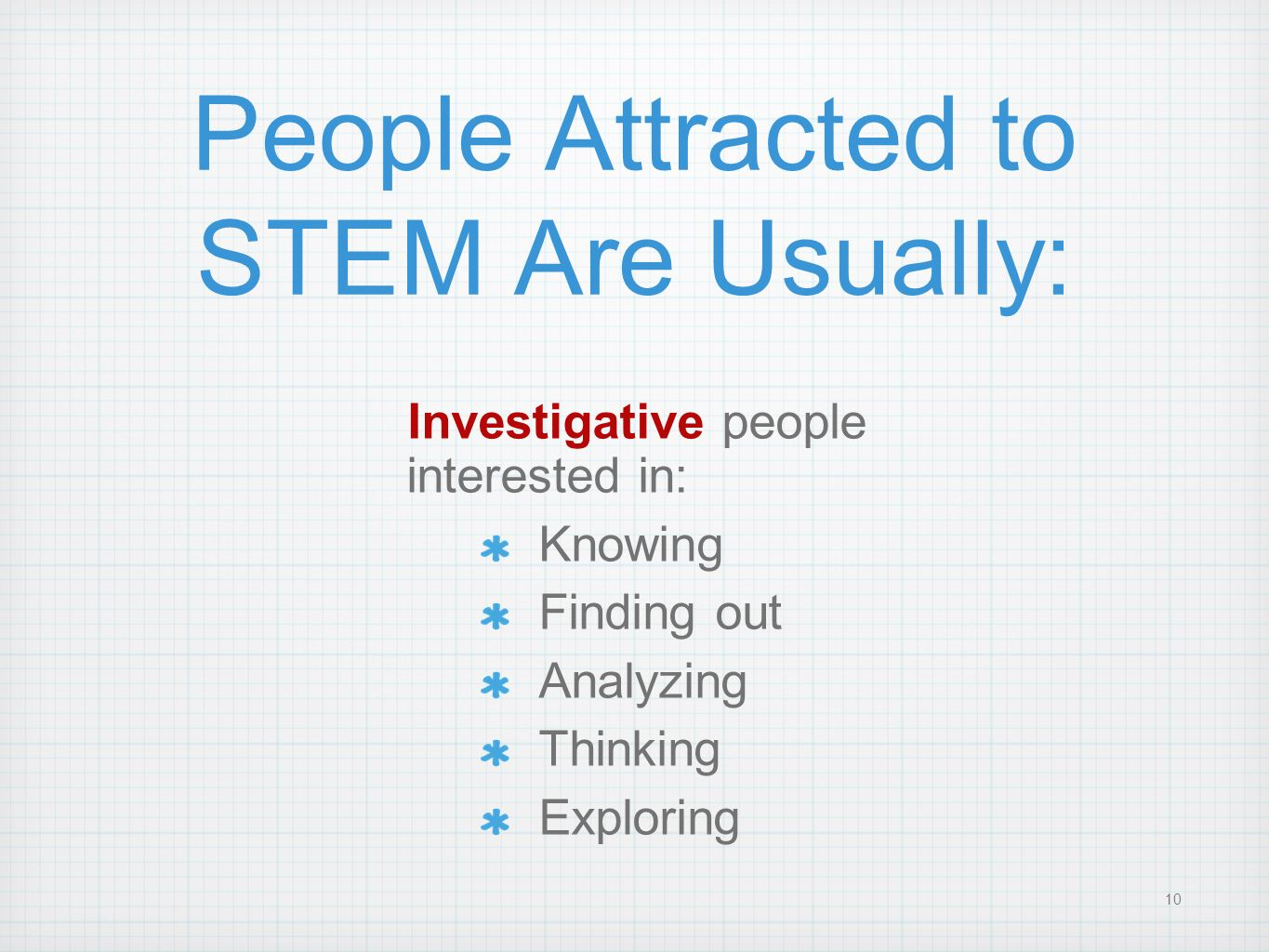 People Attracted to STEM Are Usually: