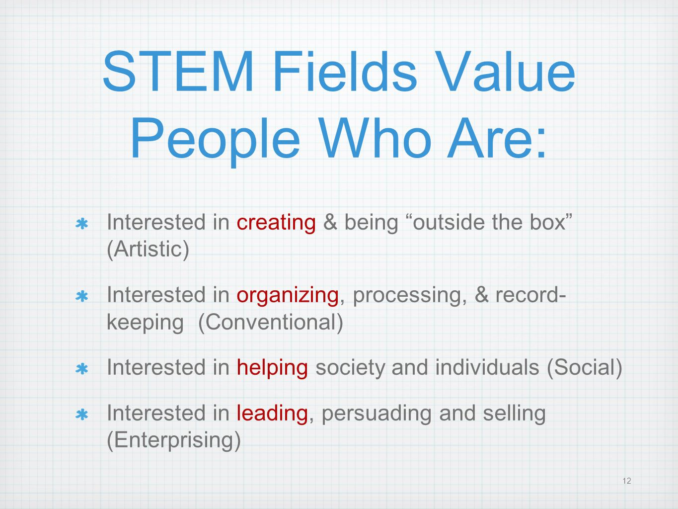 STEM Fields Value People Who Are: