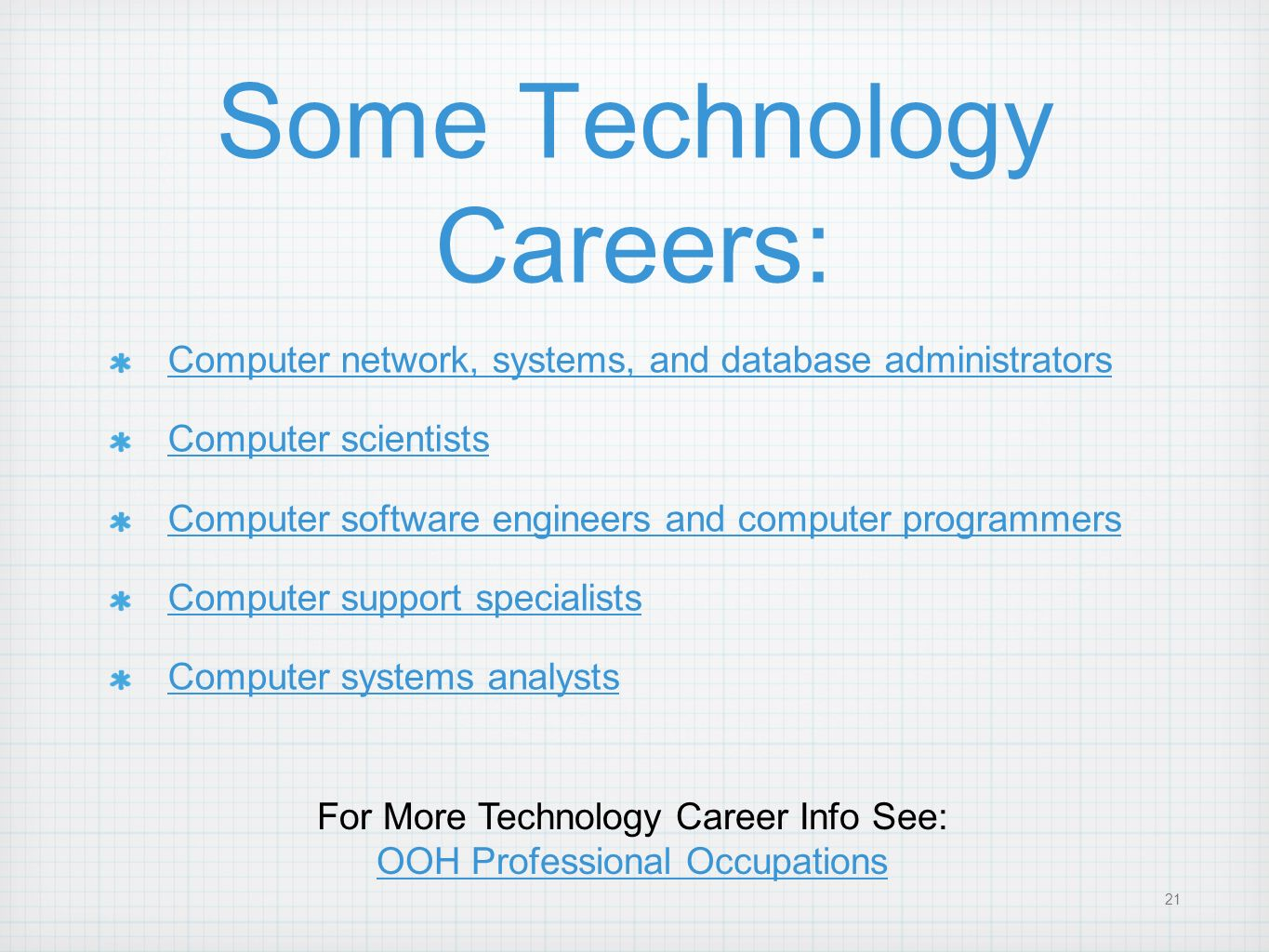 Some Technology Careers:
