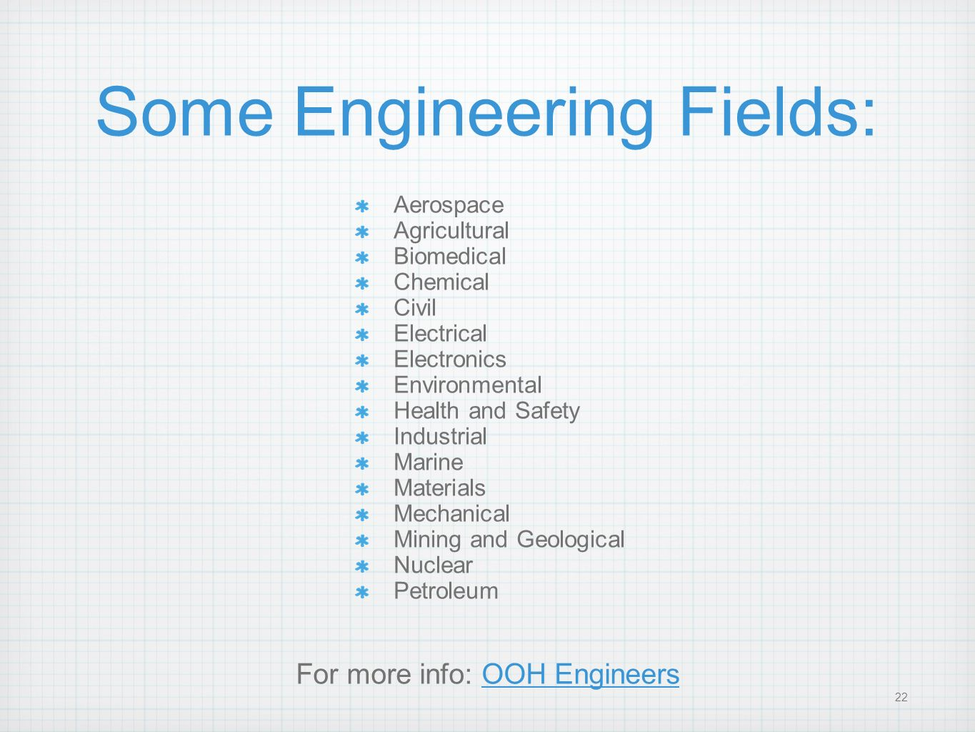Some Engineering Fields: