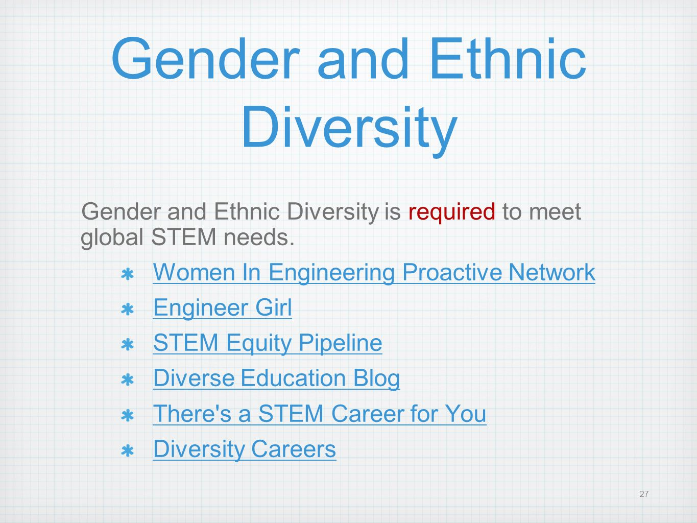 Gender and Ethnic Diversity