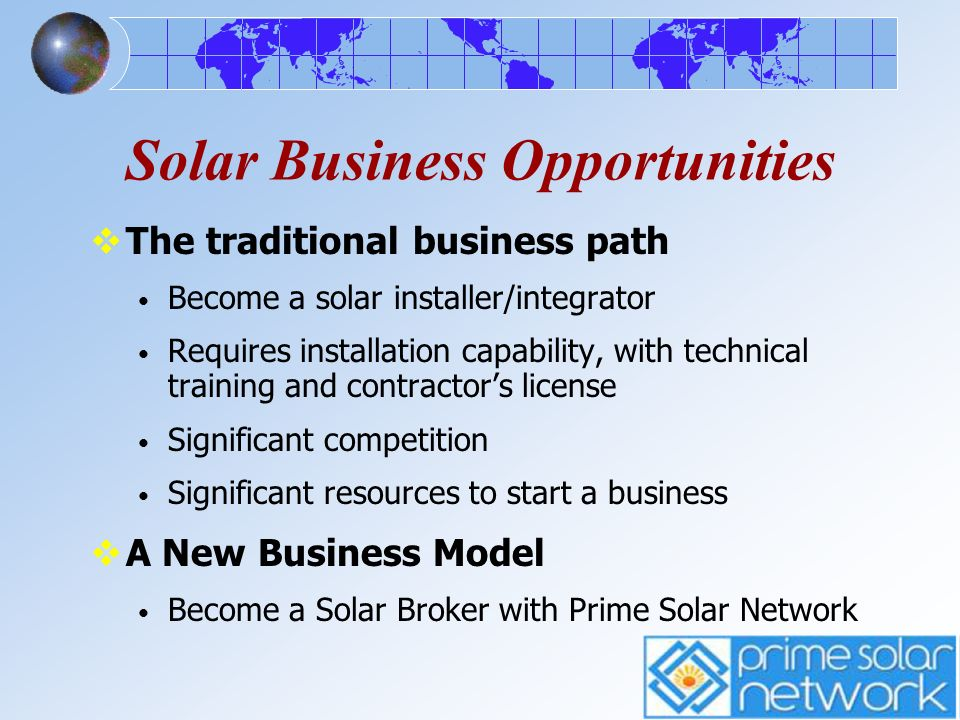 Solar Business Opportunities