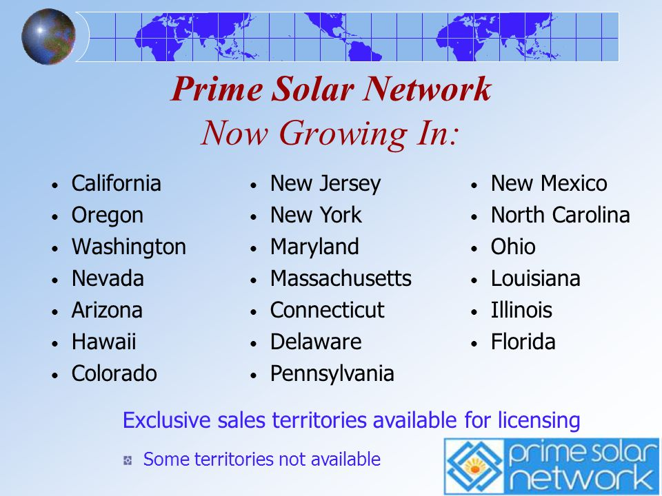 Prime Solar Network Now Growing In: