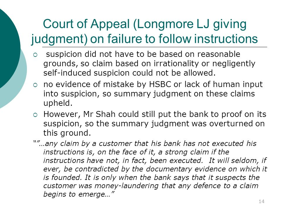 Court of Appeal (Longmore LJ giving judgment) on failure to follow instructions