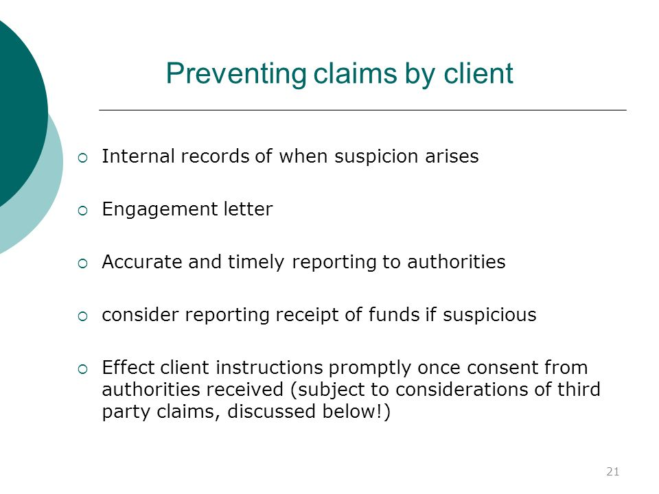 Preventing claims by client