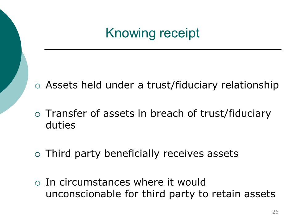 Knowing receipt Assets held under a trust/fiduciary relationship