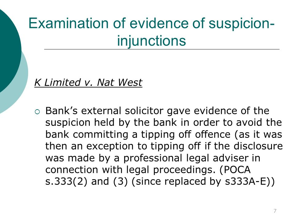 Examination of evidence of suspicion-injunctions