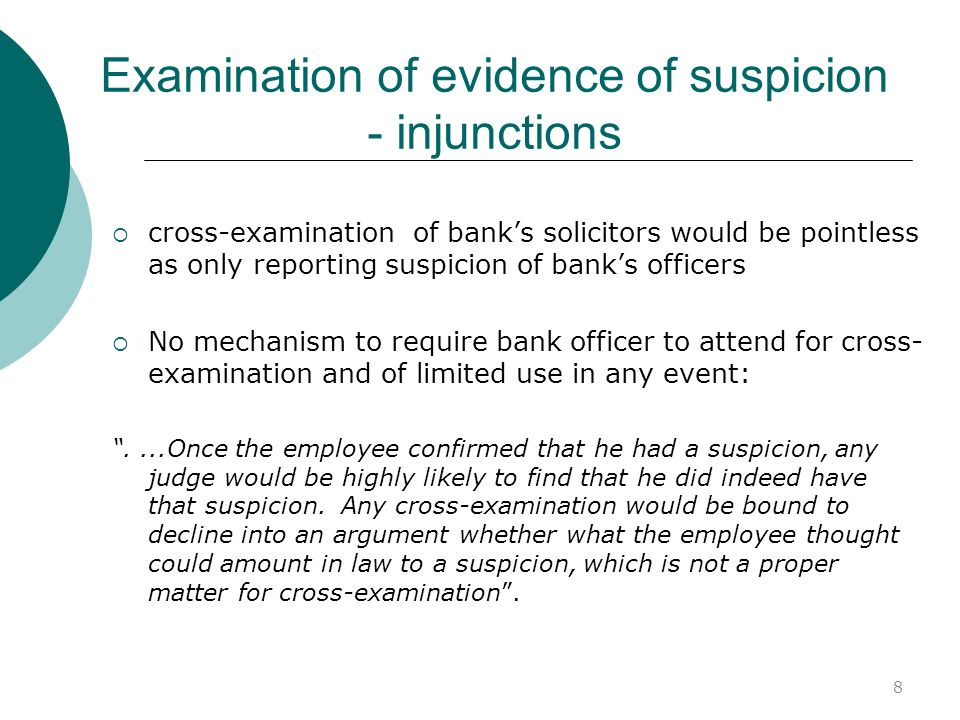 Examination of evidence of suspicion - injunctions