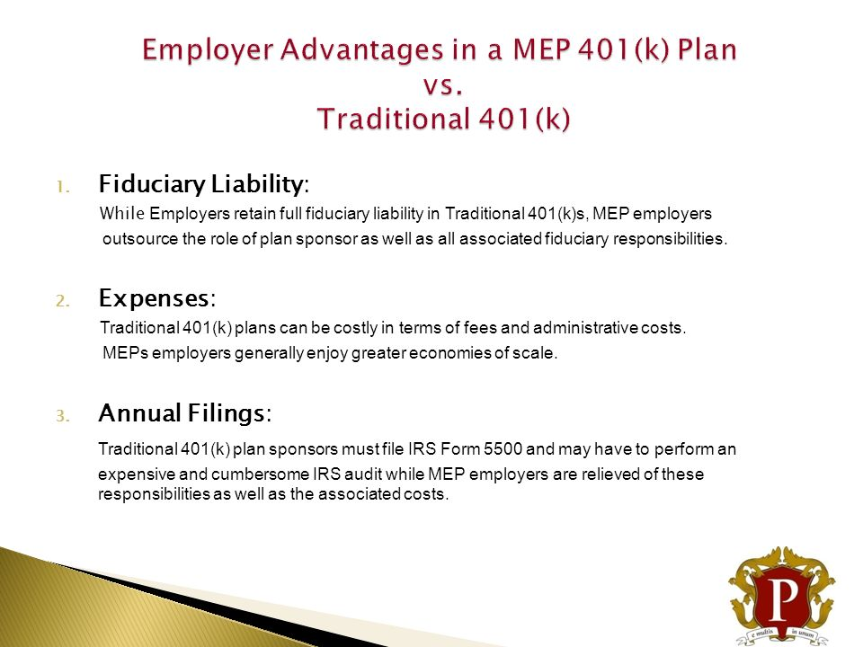 Employer Advantages in a MEP 401(k) Plan vs. Traditional 401(k)