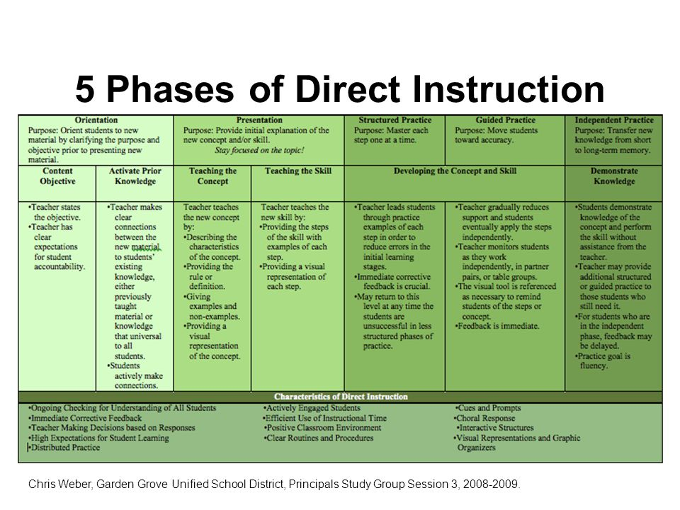 Direct Instruction Phases Various Owner Manual Guide