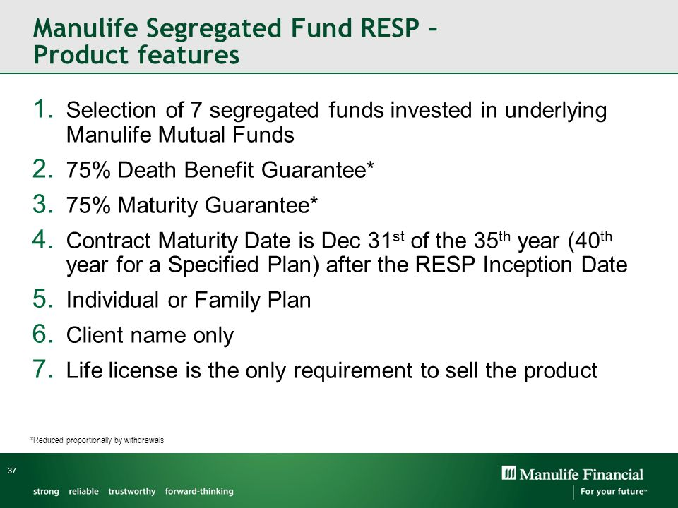 Manulife Segregated Fund RESP – Product features