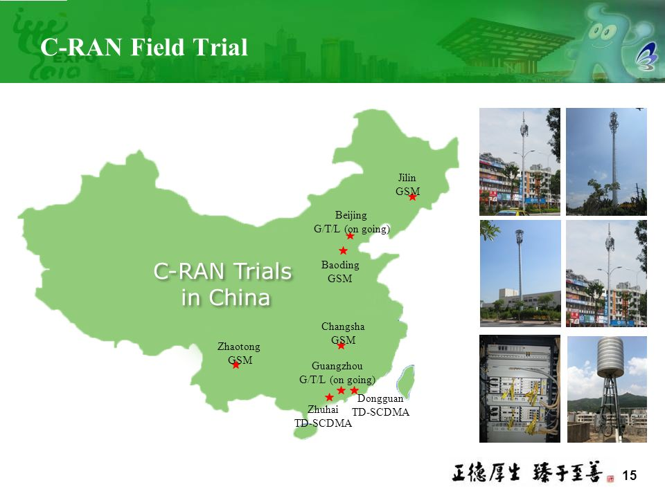 C-RAN Field Trial C-RAN Trials in China Jilin Beijing Baoding Changsha
