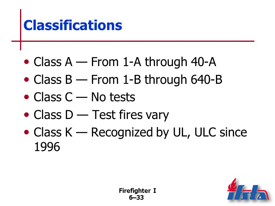 Classifications Class A — From 1-A through 40-A