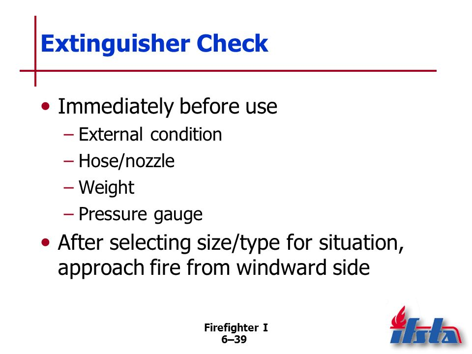 Extinguisher Check Immediately before use