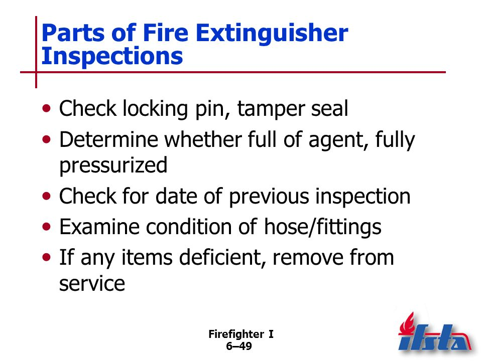 Parts of Fire Extinguisher Inspections