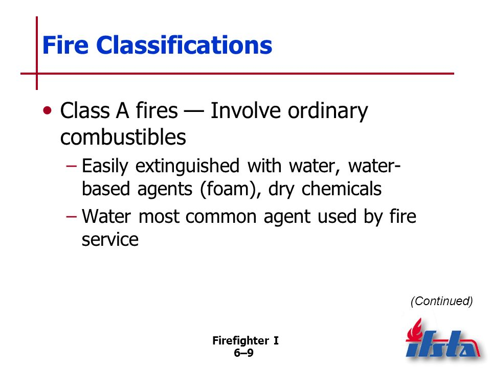Fire Classifications Class A fires — Involve ordinary combustibles