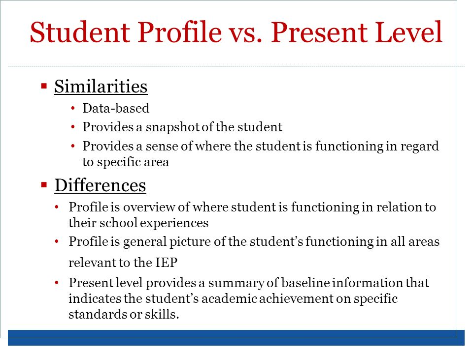 Student Profile vs. Present Level