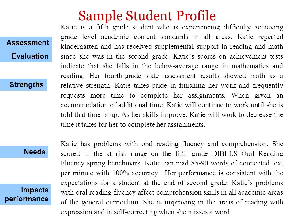 Sample Student Profile