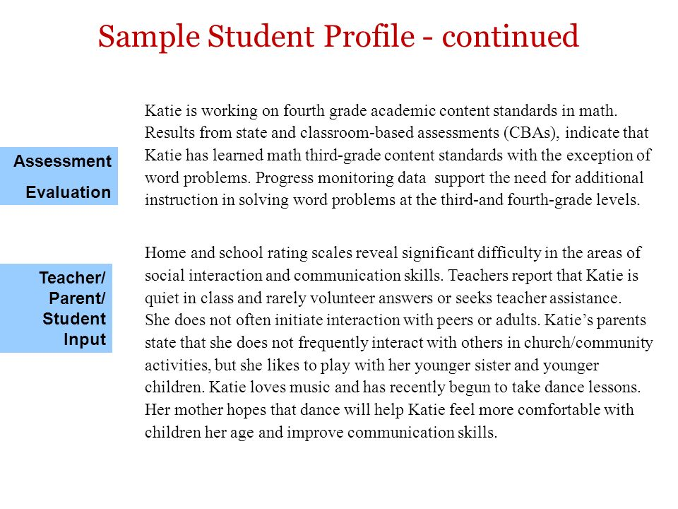 Sample Student Profile - continued
