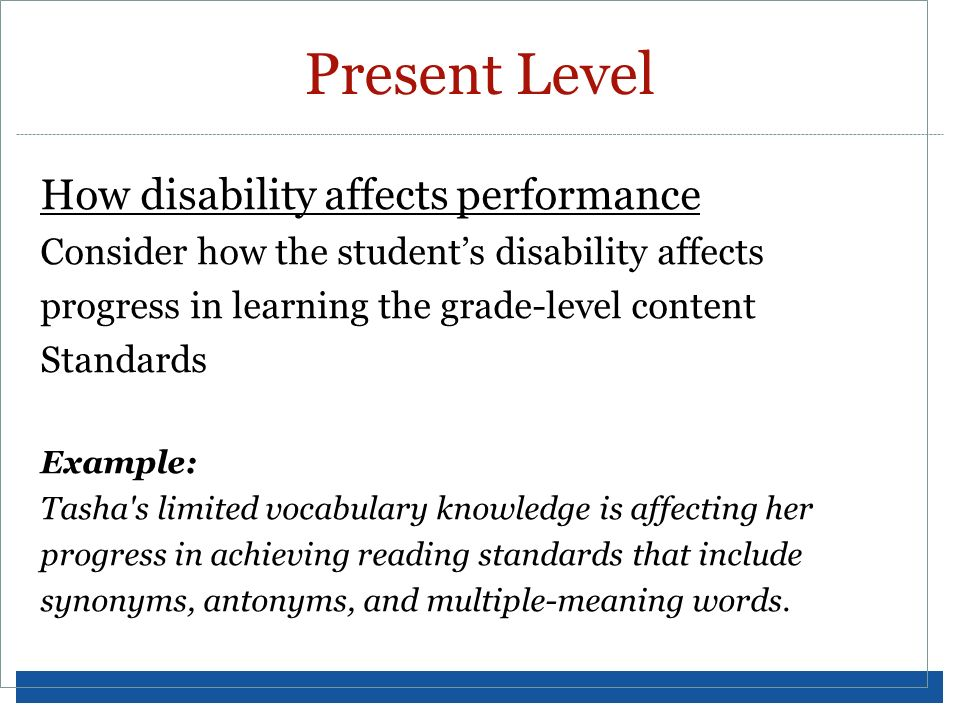 Present Level How disability affects performance