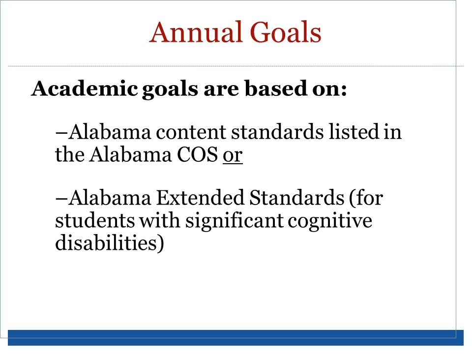 Annual Goals Academic goals are based on:
