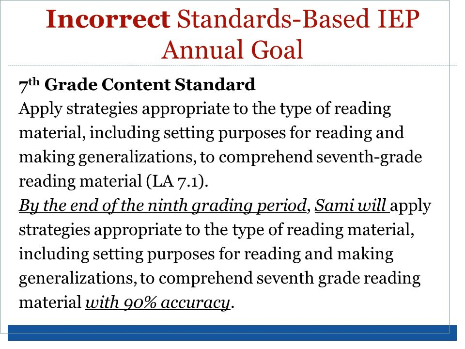 Incorrect Standards-Based IEP Annual Goal