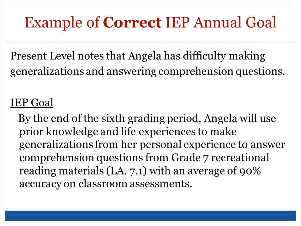 Example of Correct IEP Annual Goal