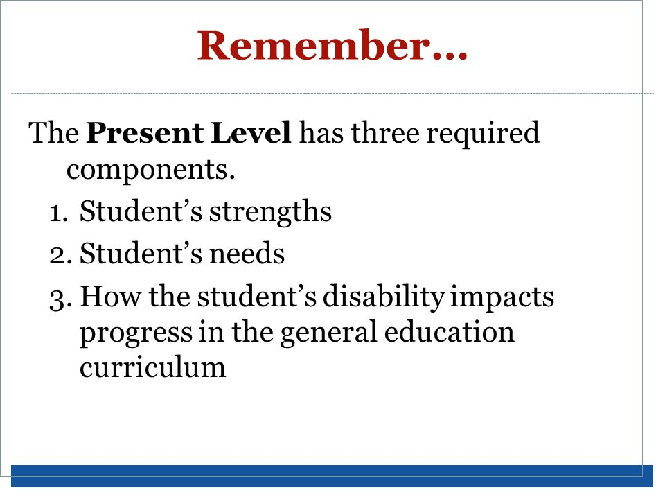 Remember… The Present Level has three required components.