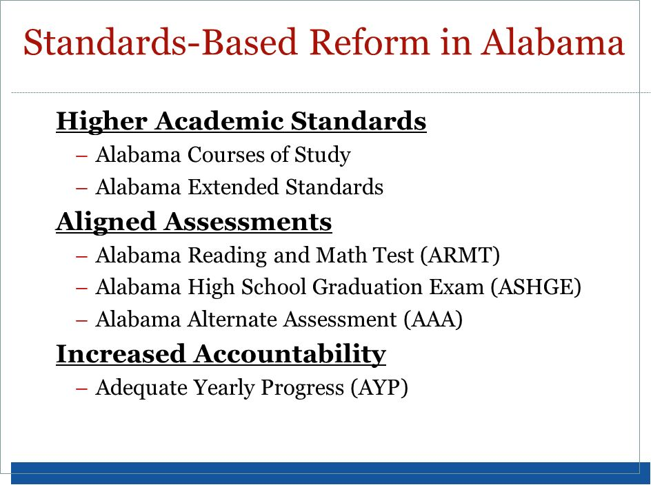Standards-Based Reform in Alabama