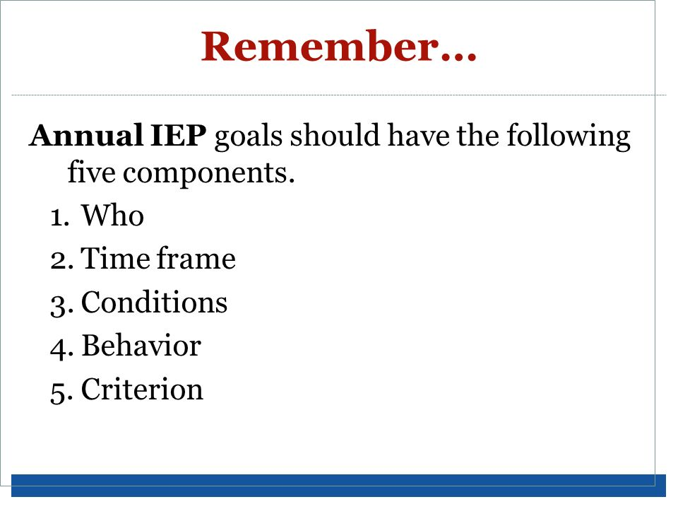 Remember… Annual IEP goals should have the following five components.
