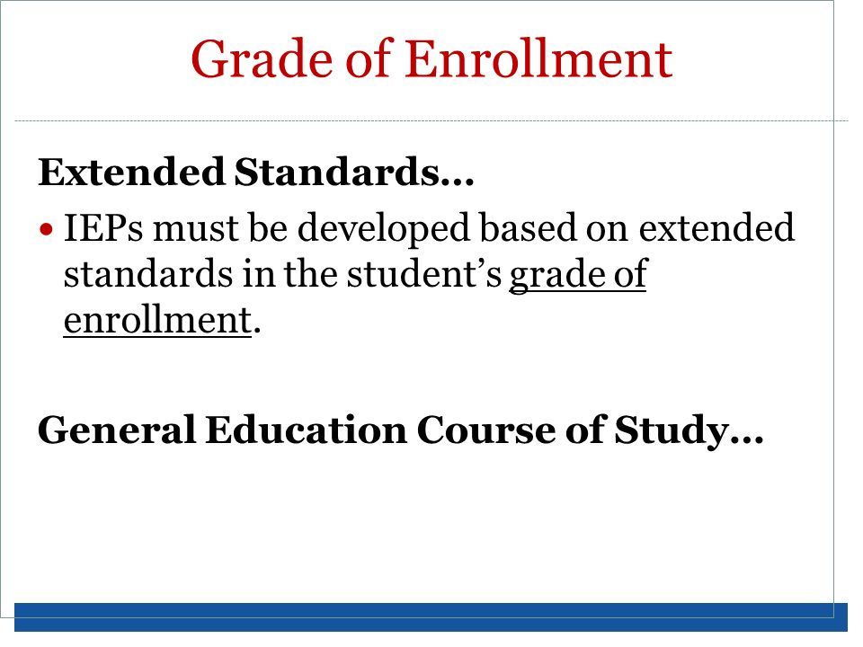 Grade of Enrollment Extended Standards…