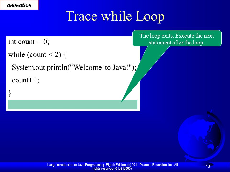 The loop exits. Execute the next statement after the loop.