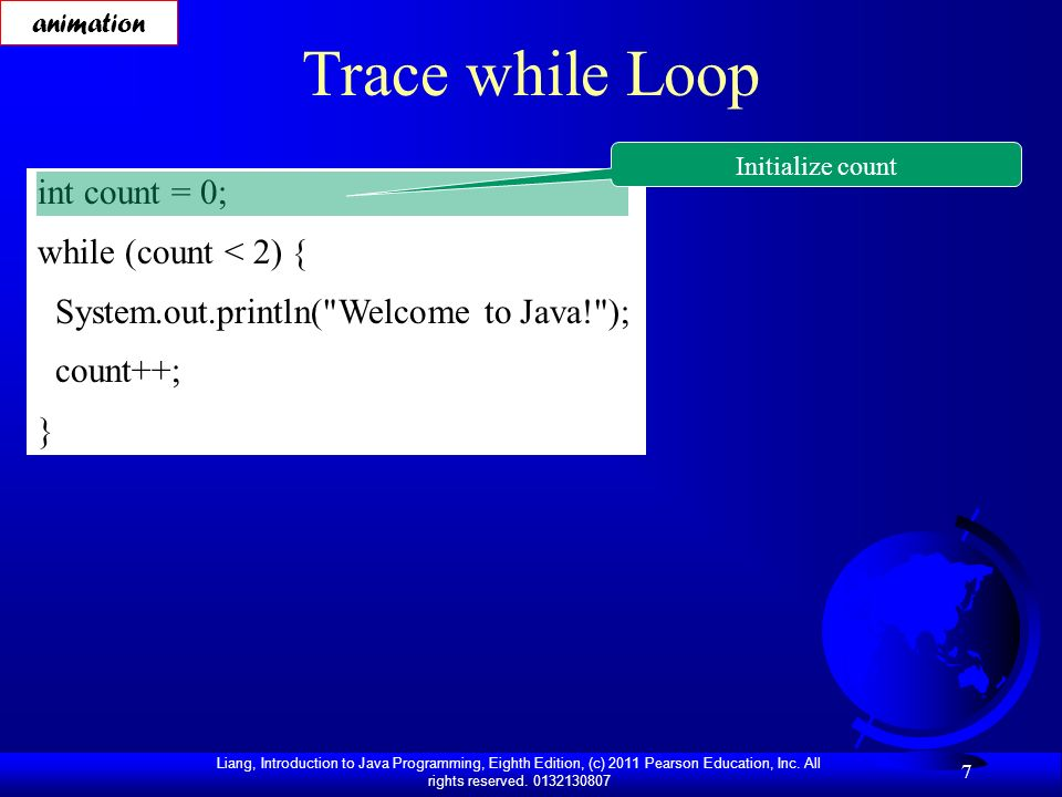Trace while Loop int count = 0; while (count < 2) {