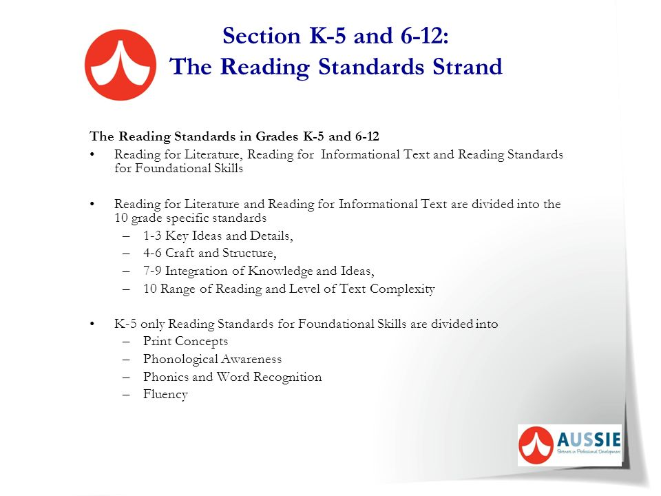 Section K-5 and 6-12: The Reading Standards Strand