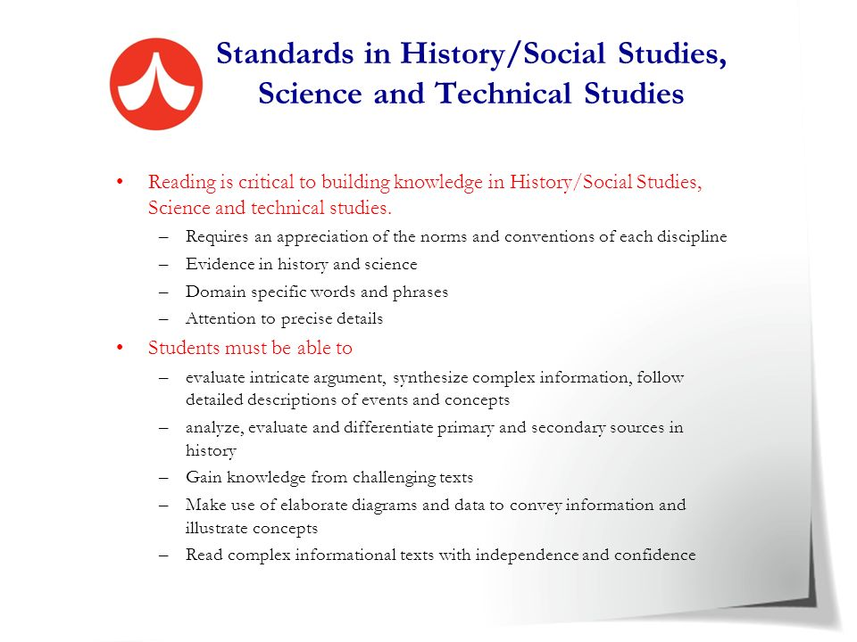 Standards in History/Social Studies, Science and Technical Studies