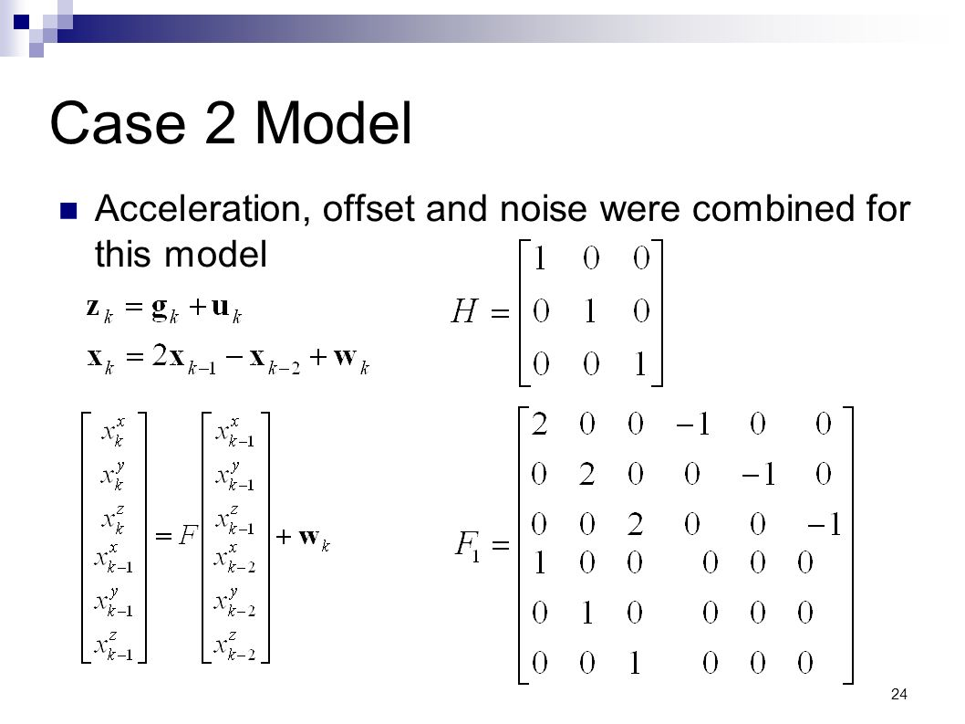 Case 2 Model Acceleration, offset and noise were combined for this model