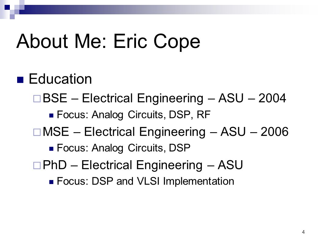 About Me: Eric Cope Education
