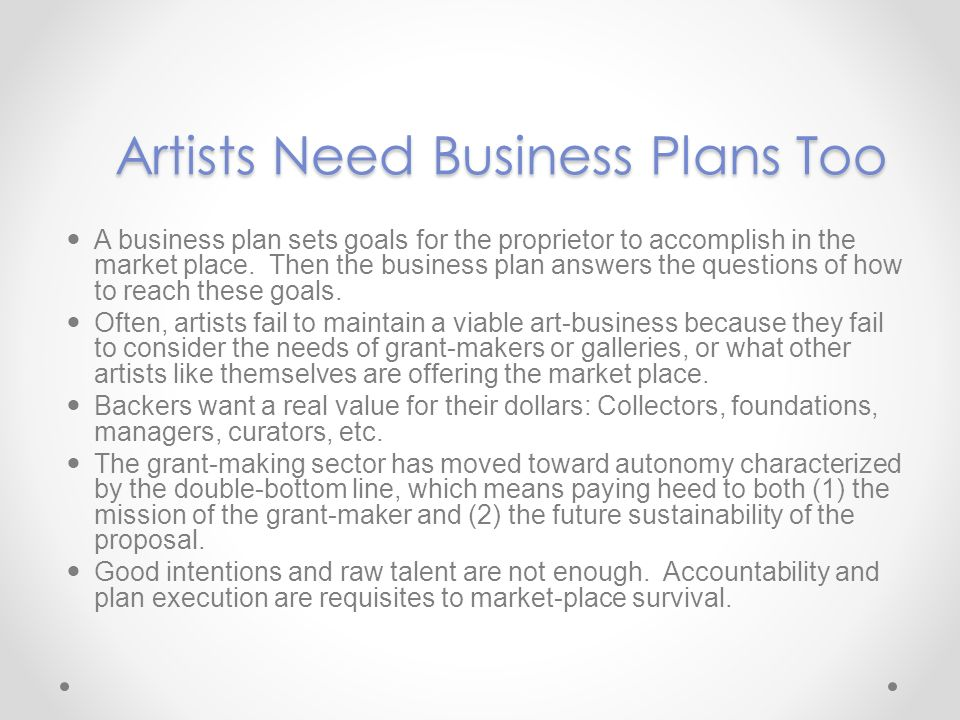The Full Business Plan Guide And Template For Artists Ppt Download
