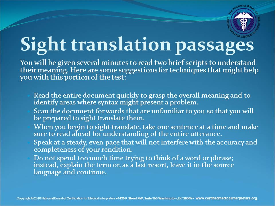 Sight translation passages