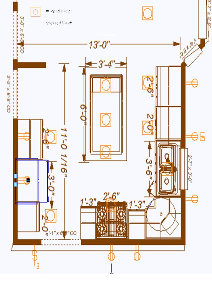 = Pendant or recessed light CAD drawing