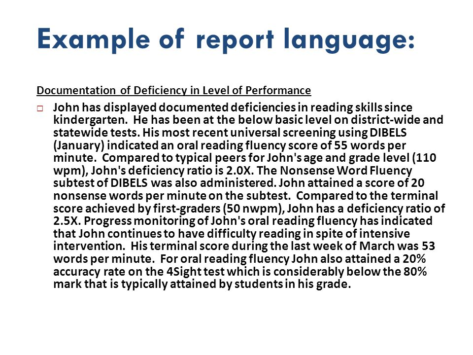 Example of report language: