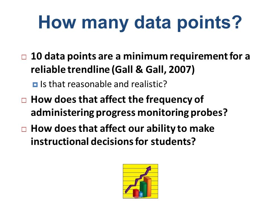 How many data points 10 data points are a minimum requirement for a reliable trendline (Gall & Gall, 2007)