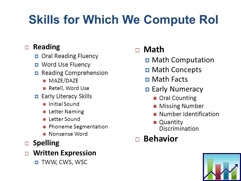 Skills for Which We Compute RoI