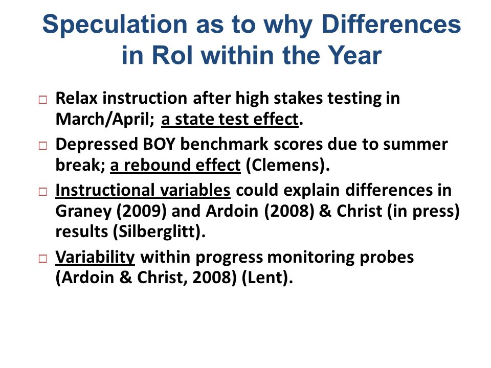 Speculation as to why Differences in RoI within the Year