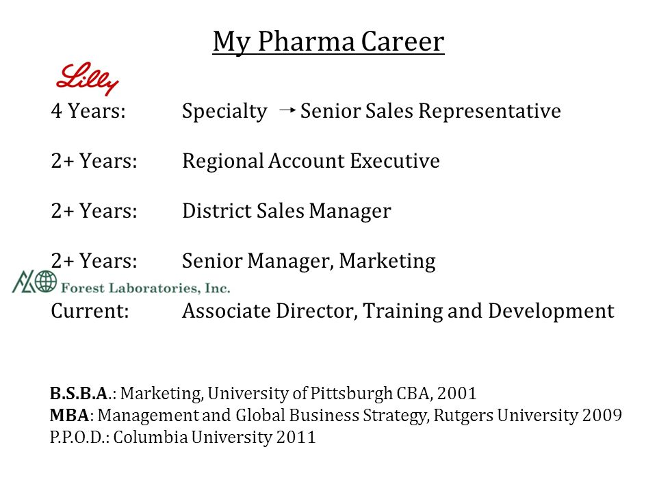 My Pharma Career 4 Years: Specialty Senior Sales Representative