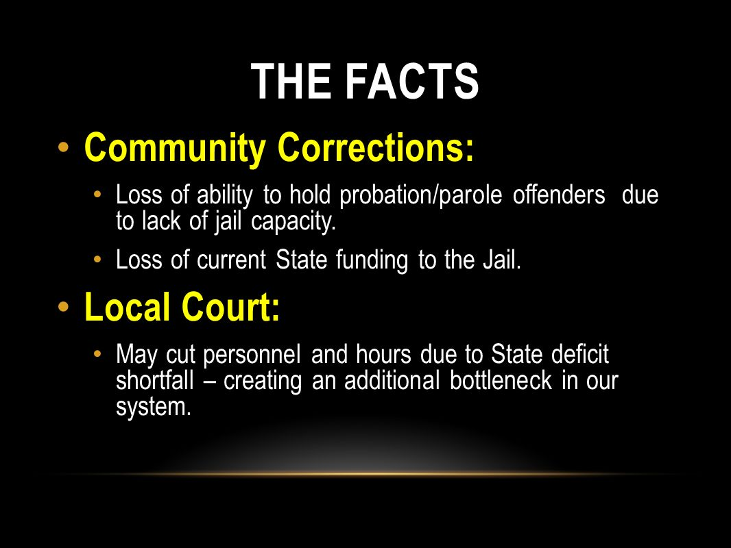 THE FACTS Community Corrections: Local Court:
