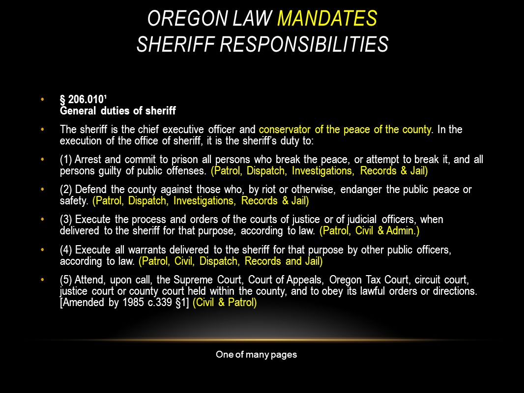 Oregon law Mandates Sheriff Responsibilities
